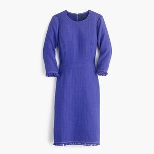 J Crew Long Sleeve Tweed Dress with Fringe